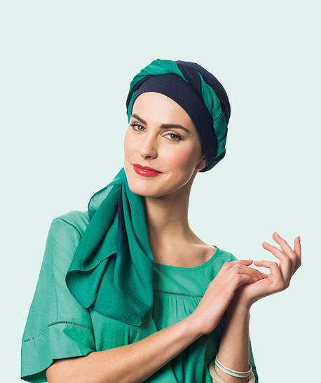 photo mannequin turban bali marine et vert