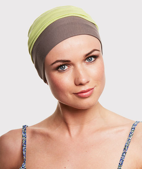 photo mannequin turban bambou vert et marron