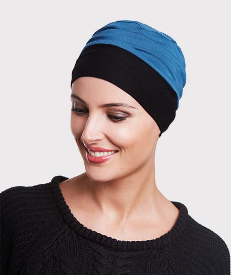 photo mannequin turban bambou reversible noir et bleu