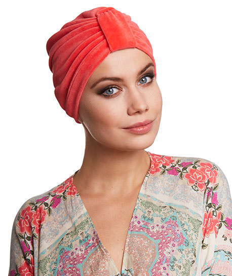 photo mannequin avec turban eponge velours corail