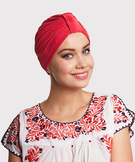 photo mannequin avec turban eponge velours framboise