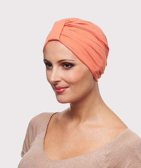 photo mannequin avec turban lycra coton corail