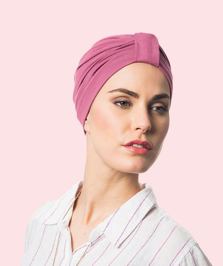 photo mannequin avec turban lycra coton rose