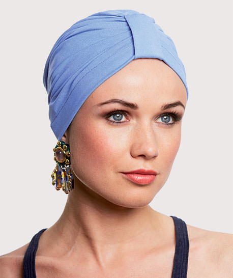 photo mannequin avec turban lycra coton bleu