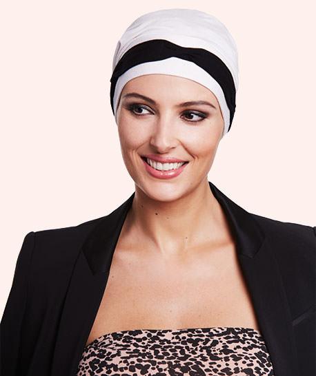 photo turban modèle sienna coloris noir et écru