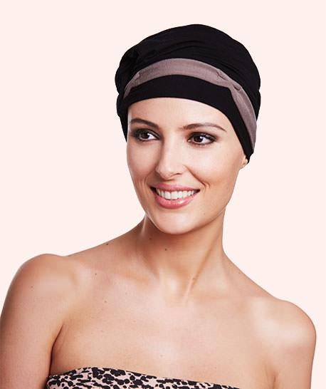 photo turban modèle sienna coloris noir et taupe